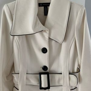 White Peacoat with Black Trim